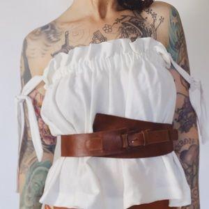 VINTAGE Obi Belt Brown Leather Made in Guatemala